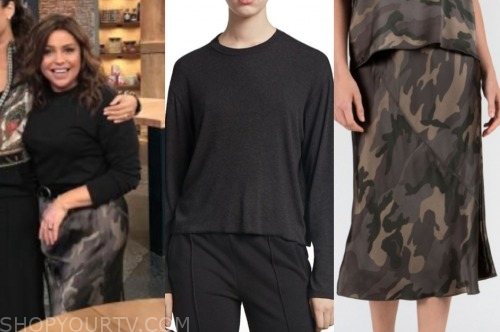 rachael ray, the rachael ray show, black sweater, camo skirt