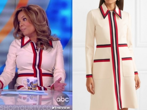 sunny hostin, the view, contrast trim zip front dress