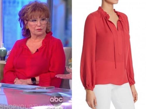 joy behar, the view, red tie neck blouse