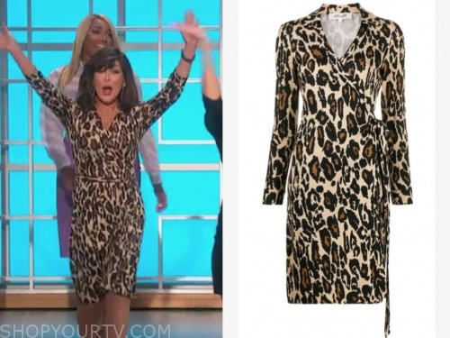 the talk, marie osmond, leopard wrap dress