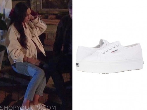 victoria f., the bachelor, white platform sneakers