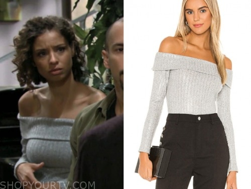 elena dawson, brytni sarpy, metallic off-the-shoulder top, the young and the restless