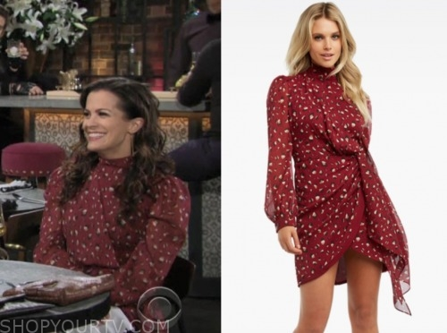 chelsea newman, melissa claire egan, red printed dress, the young and the restless