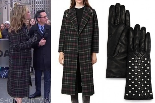 savannah guthrie, the today show, plaid coat, pearl gloves