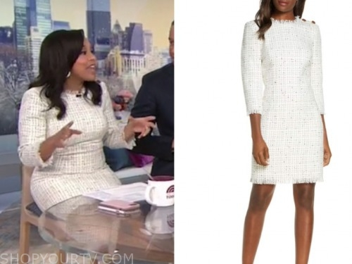 sheinelle jones, tweed dress, today show, 3rd hour today