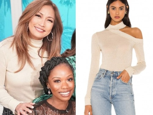 carrie ann inaba, the talk, beige turtleneck top