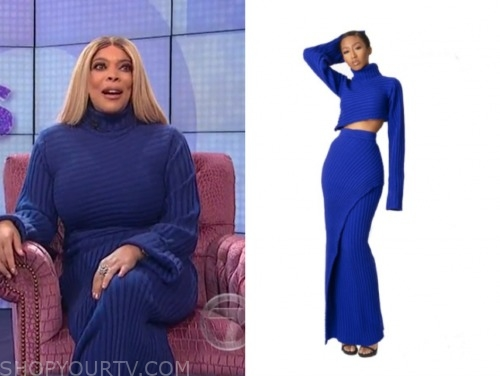 wendy williams, the wendy williams show, blue ribbed turtleneck and skirt set