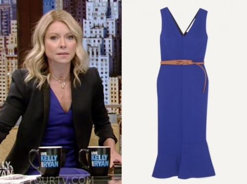 live with kelly and ryan, kelly ripa, blue midi dress