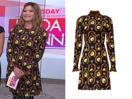 jenna bush hager, the today show, printed long sleeve mini dress