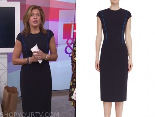 hoda kotb, contrast piping sheath dress, the today show