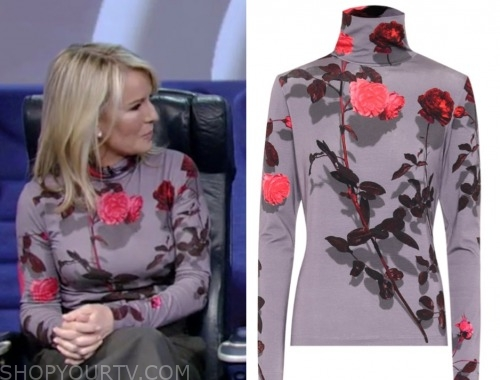 live with kelly and ryan, dr. jennifer ashton, purple floral turtleneck