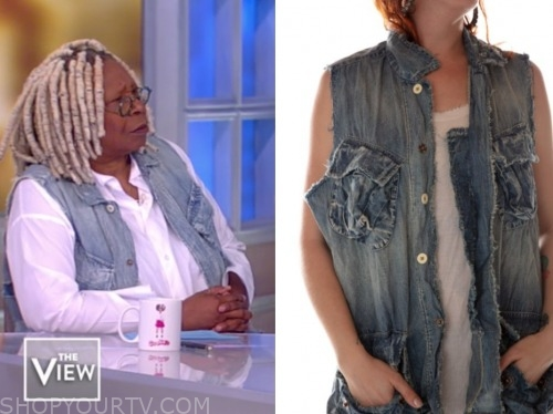 whoopi goldberg, the view, denim vest