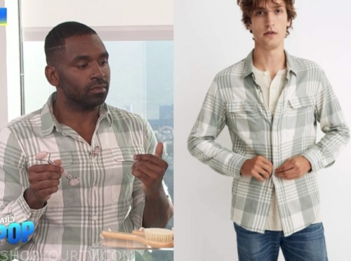E! news, daily pop, justin sylvester, plaid flannel shirt