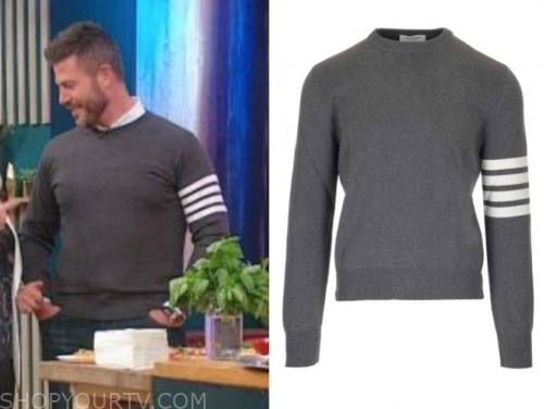 jesse palmer, the rachael ray show, grey and white stripe sleeve sweater
