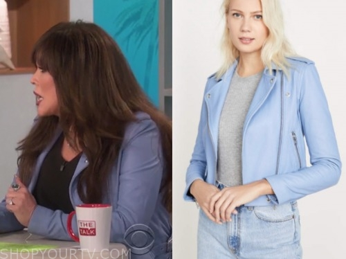 marie osmond, the talk, blue leather jacket