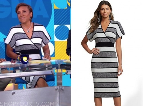 robin roberts, gma, stripe knit dress