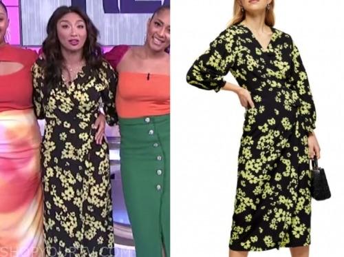 the real, jeannie mai, floral wrap midi dress