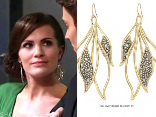 melissa claire egan, the young and the restless, leaf earrings, chelsea newman