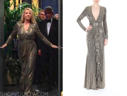 nikki newman, melody thomas scott, the young and the restless, gold sequin gown