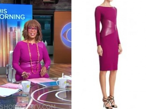 gayle king, cbs this morning, purple leather panel sheath dress