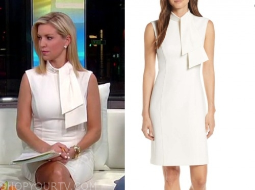 ainsley earhardt, fox and friends, white tie neck sheath dress