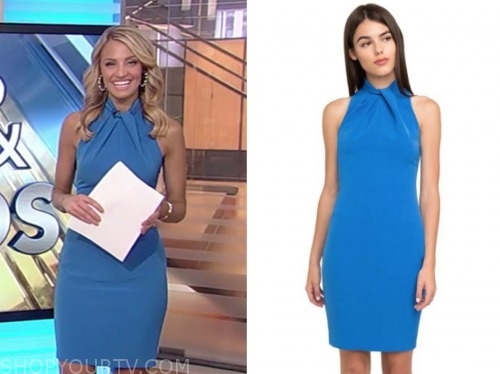 carley shimkus, fox and friends, blue halter sheath dress