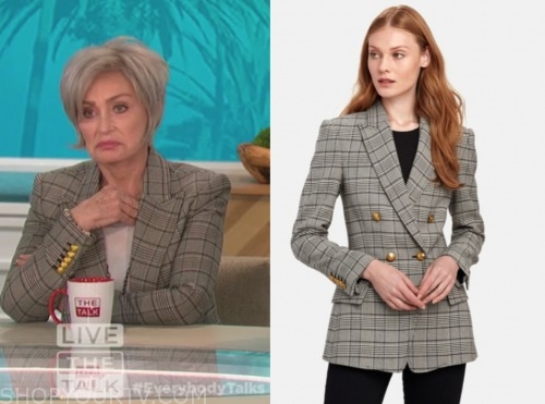 sharon osbourne, the talk, plaid double breasted blazer