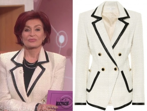 the talk, sharon osbourne, white and black contrast trim blazer