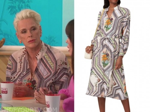 brigitte nielsen, the talk, floral shirt dress