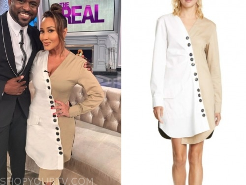 adrienne bailon, the real, brown and white asymmetric button dress