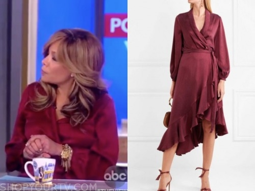 sunny hostin, the view, burgundy satin wrap dress