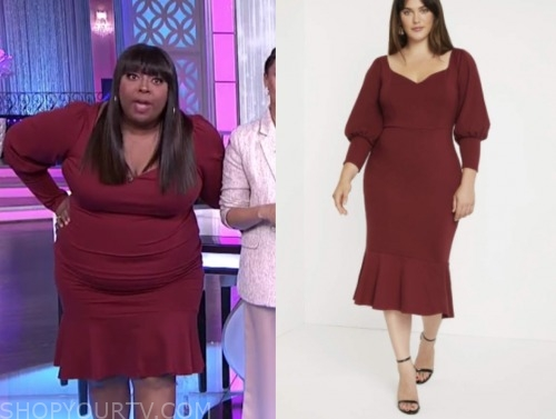 loni love, the real, burgundy flounce dress
