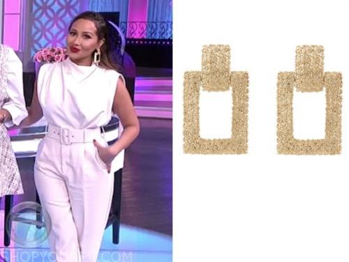 adrienne bailon, the real, gold textured earrings