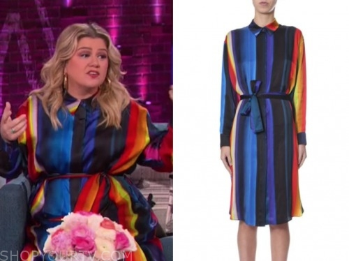 kelly clarkson, the kelly clarkson show, rainbow stripe shirt dress