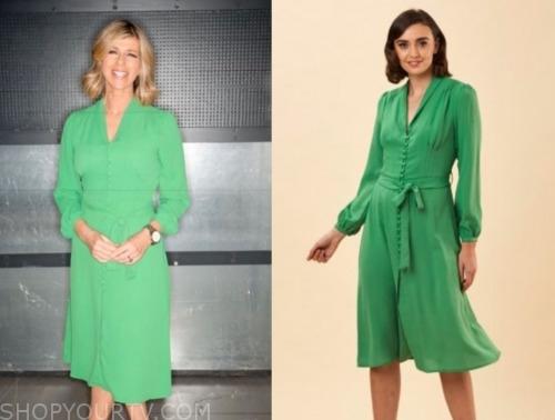 kate garraway, good morning britain, green button dress