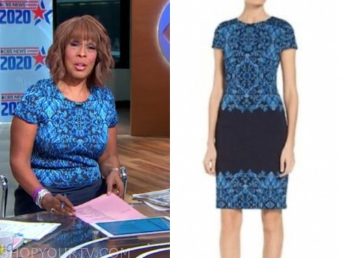 gayle king, blue brocade dress, cbs this morning