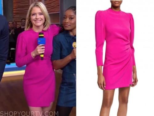 sara haines, pink mock neck dress, gma