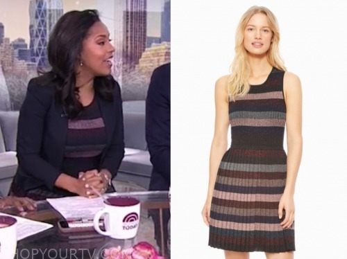 the today show, sheinelle jones, knit striped pleated dress