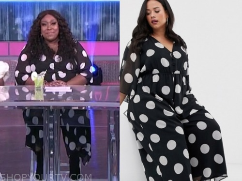loni love, the real, black and white polka dot jumpsuit