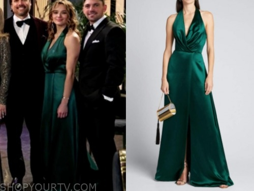 the young and the restless, summer newman, hunter king, green gown