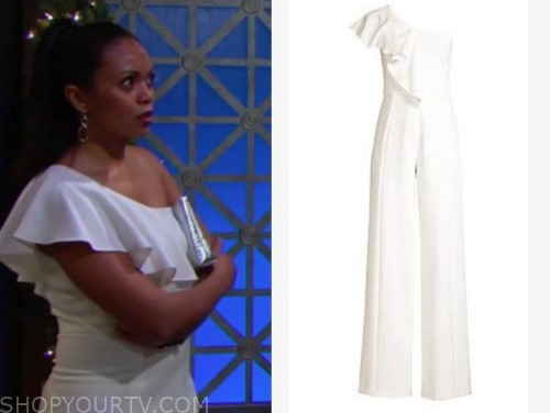 mishael morgan, amanda sinclair, the young and the restless, white ruffle one-shoulder jumpsuit