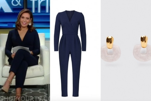 lisa boothe, fox and friends, navy jumpsuit, acetate earrings