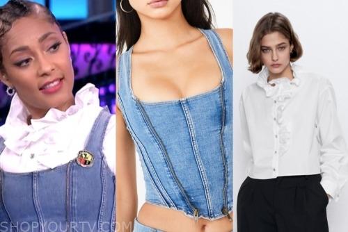the real, amanda seales, denim corset, white ruffle blouse