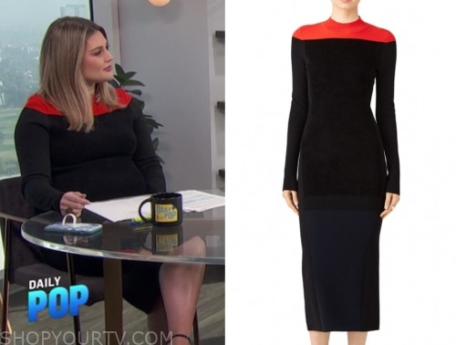 carissa culiner, E! news, black and red knit dress