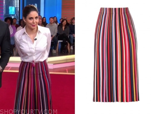good morning america, stripe knit skirt, cecilia vega