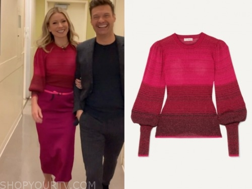 kelly ripa, live with kelly and ryan, pink ombre sweater