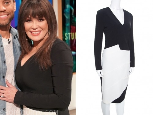 the talk, marie osmond, white and black colorblock dress