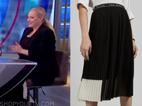 meghan mccain, the view, colorblock pleated skirt