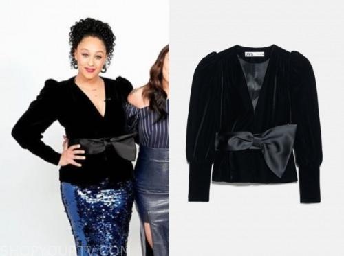 tamera mowry, the real, black velvet bow jacket