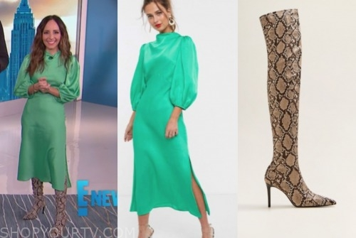 lilliana vazquez, green satin midi dress, E! news, snakeskin boots